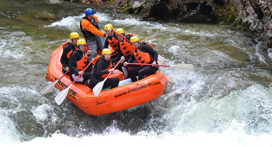 whitewater rafting group in rapids